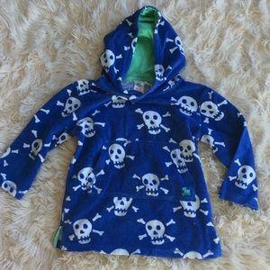 5/$45 Mini Boden terry skulls hooded pullover 4-5